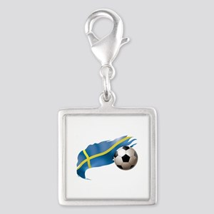 Sweden Soccer Silver Square Charm
