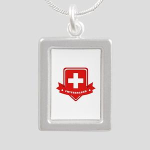 Switzerland Silver Portrait Necklace