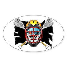 Pirate Lacrosse @ eShirtLabs Oval Sticker