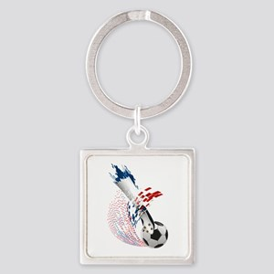 France Soccer Square Keychain