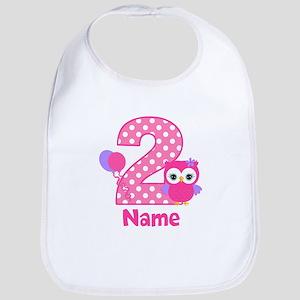 2nd Birthday Owl Pink Personalized Bib