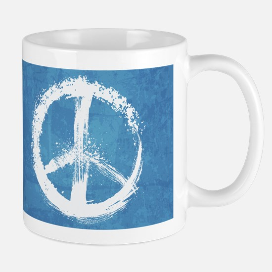 Grunge Peace Sign Stainless Steel Travel Mugs