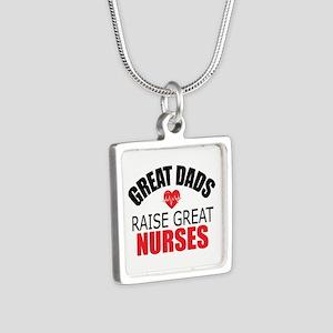 Dad of Nurse Silver Square Necklace