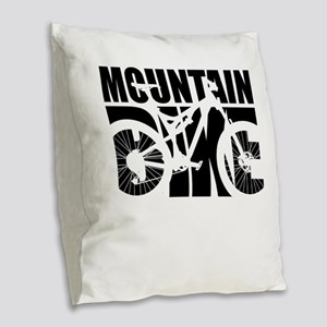 Mountain Bike Burlap Throw Pillow
