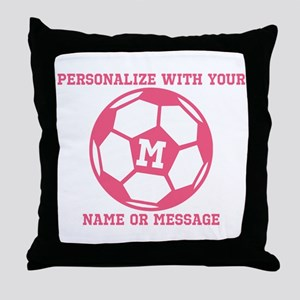 PERSONALIZED Pink Soccer Ball Throw Pillow