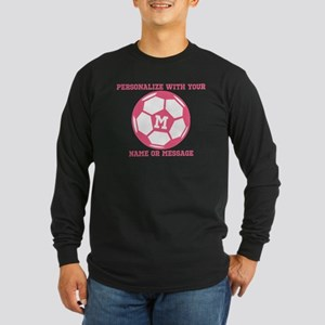 PERSONALIZED Pink Soccer Ball Long Sleeve T-Shirt