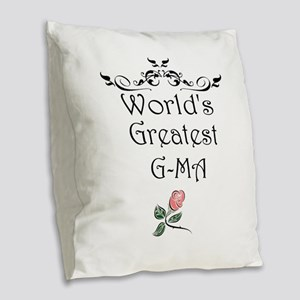 Worlds Greatest GMA Burlap Throw Pillow