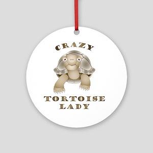 Crazy Tortoise Lady Round Ornament