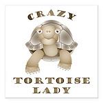 "Crazy Tortoise Lady Square Car Magnet 3"" X 3&"