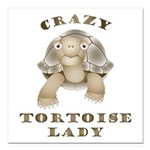 "Crazy Tortoise Lady Square Car Magnet 3"" X 3&"