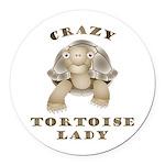 Crazy Tortoise Lady Round Car Magnet