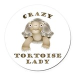 Crazy Tortoise Lady Round Car Magnet