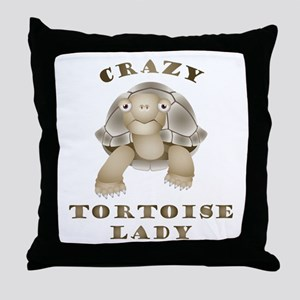 Crazy Tortoise Lady Throw Pillow