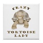 Crazy Tortoise Lady Tile Coaster