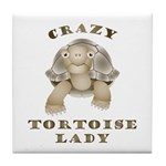 Crazy Tortoise Lady Tile Coaster