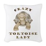 Crazy Tortoise Lady Woven Throw Pillow