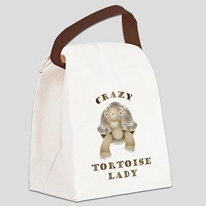 Crazy Tortoise Lady Canvas Lunch Bag