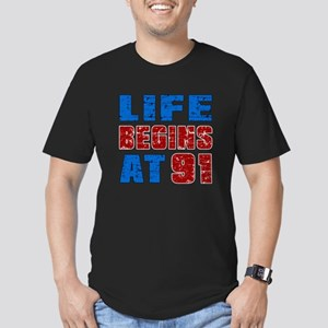 Life Begins At 91 Men's Fitted T-Shirt (dark)