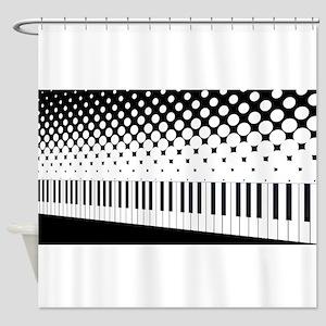 Keyboard Halftone Shower Curtain
