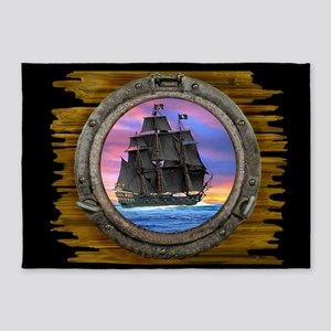 Black Sails of the 7 Seas 5'x7'Area Rug