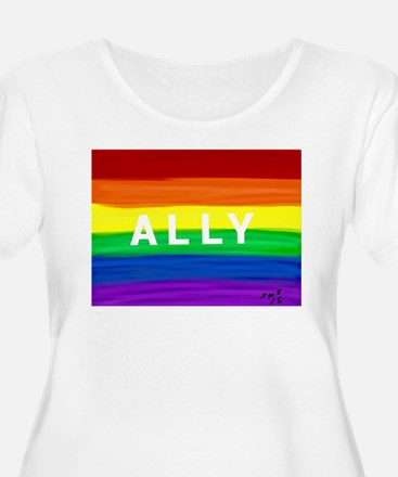 Ally gay rainbow art Plus Size T-Shirt