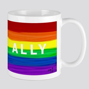 Ally gay rainbow art Mugs