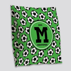 MONOGRAM Soccer Pattern Burlap Throw Pillow