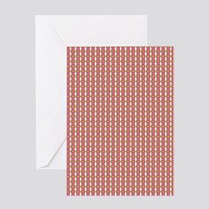 Cute Retro Pink Green Pattern Greeting Cards