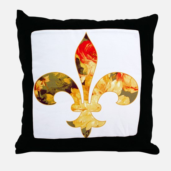Floral Fleur de lis (3) Throw Pillow