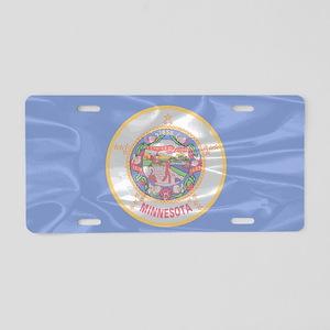 Minnesota State Silk Flag Aluminum License Plate
