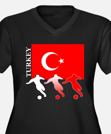 Turkey Soccer Women's Plus Size V-Neck Dark T-Shir