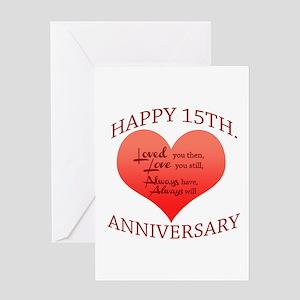 15th anniversary greeting cards cafepress anniversary greeting card m4hsunfo