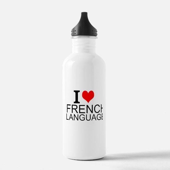 I Love French Language Water Bottle