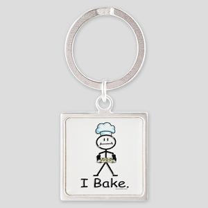 Baking Stick Figure Square Keychain