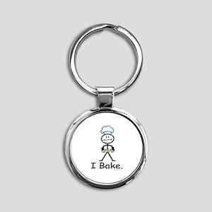 Baking Stick Figure Round Keychain