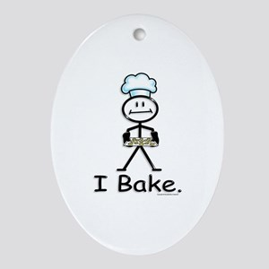 Baking Stick Figure Oval Ornament