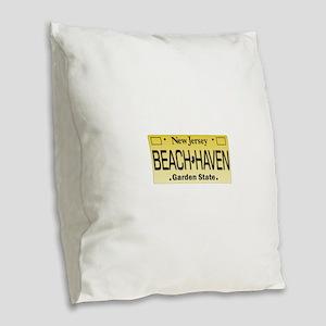 Beach Haven NJ Tag Giftware Burlap Throw Pillow