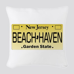Beach Haven NJ Tag Giftware Woven Throw Pillow