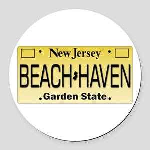 Beach Haven NJ Tag Giftware Round Car Magnet