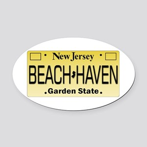 Beach Haven NJ Tag Giftware Oval Car Magnet
