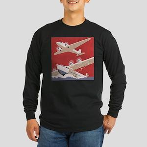 Vintage Sea and Air Long Sleeve Dark T-Shirt
