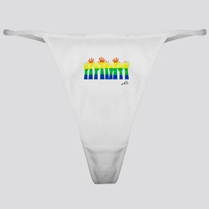 Gay arms hands rainbow art Classic Thong