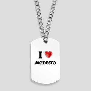 I Heart MODESTO Dog Tags