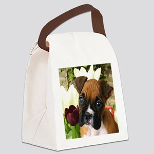 Boxer puppy in tulips Canvas Lunch Bag