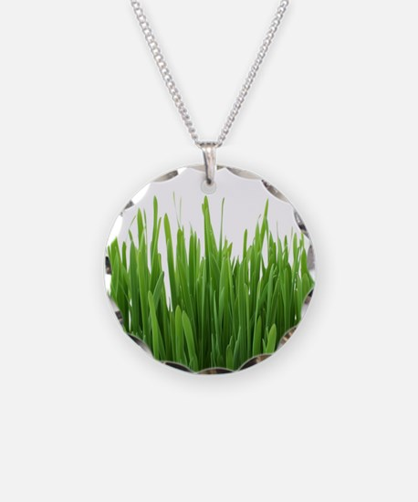 Fresh green grass on white b Necklace