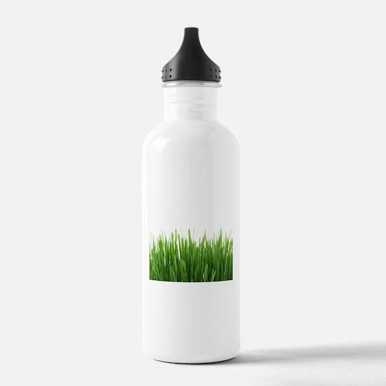 Fresh green grass on w Water Bottle