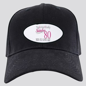 80th Birthday Gift Black Cap