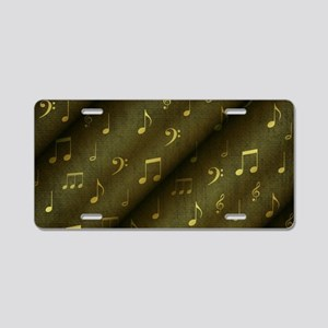 music notes and sign into a Aluminum License Plate
