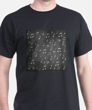 music notes and sign into a modern trendy T-Shirt