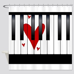 Love Piano Shower Curtain